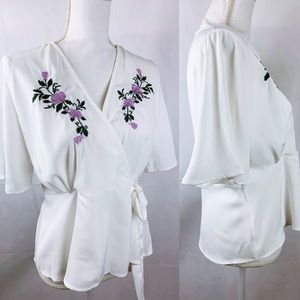 White Floral Embroidered Wrap Blouse NWT
